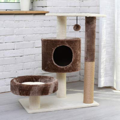 WTTTTW Cat Tree Condo with Scratching Posts Kitty Tower Furniture Pet Play House Bed Three Colors,C Condo House Scratcher Pet Furniture