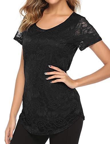 Bloggerlove Women Sexy Sheer Lace Blouses Short Sleeve Peasant Tops Tee Shirts Black L