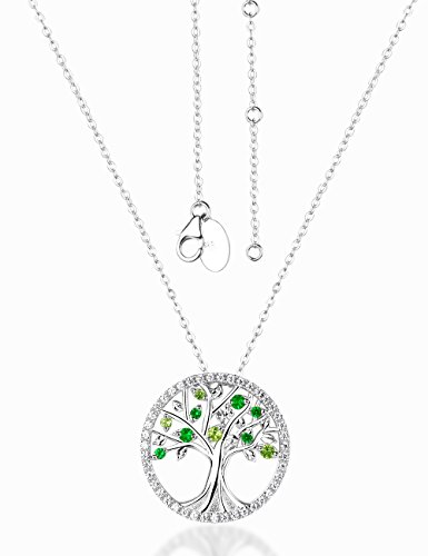 Christmas Gift Tree Of Life Blue Sapphire Pink Tourmaline Necklace Birthday Gifts for Women Sterling Silver