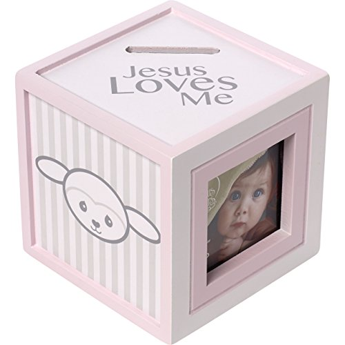 Precious Moments Precious Lamb Jesus Loves Me Photo Cube Bank Girl ()