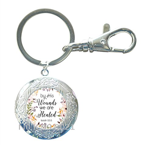 Bible Verse Locket Keychain. By his wounds we are healed. Isaiah 53:5 Bible verse. By his wounds we are healed Locket Keychain,XT135 (A)