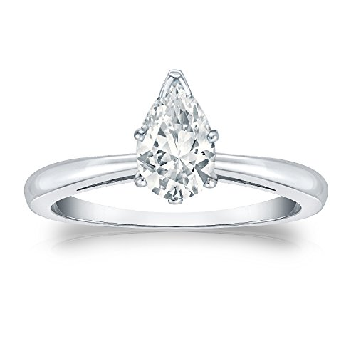 IGI Certified 14k White Gold V-Prong Pear-cut Diamond Solitaire Ring (1 cttw, White, SI1-SI2) Size 8 (Diamond Pear Solitaire Si1)