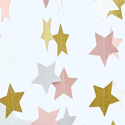 ZOOYOO Paper Five-Pointed Star Garland Dots Hanging Decor, Five-Pointed Star Event & Party Supplies,2 high,9.8-feet Pink White Gold,2pcs