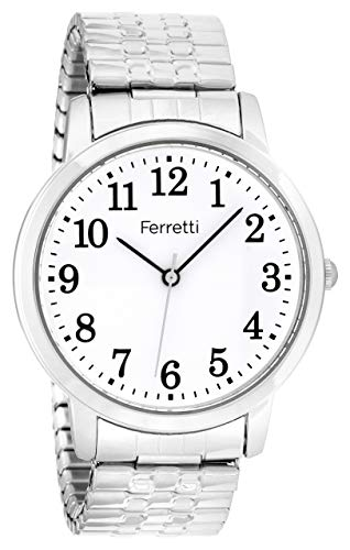 (Ferretti Unisex | Classic Silver-Tone Expansion Bracelet Big Number Watch | FT16102)