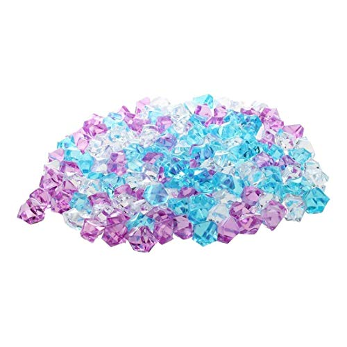 CDKJ 150Pcs Acrylic Gems Stones Colorful Ice Rocks Jewels Faux Decorative Crystal Gemstones for Vase Filler, Wedding Decoration, Party Event, Table Scatter, Aquarium Decor - Mixed Pink White Blue ()