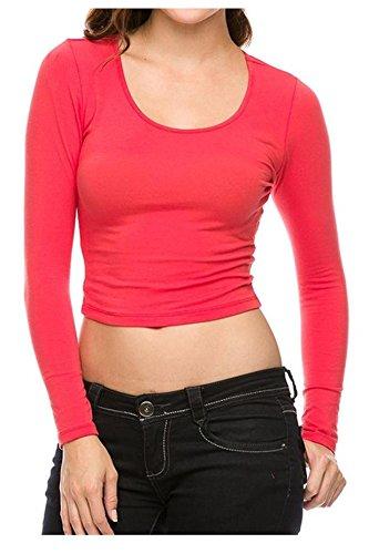 G2 Chic Women's Solid Long Sleeve Scoop Neck Crop - Crop Chic