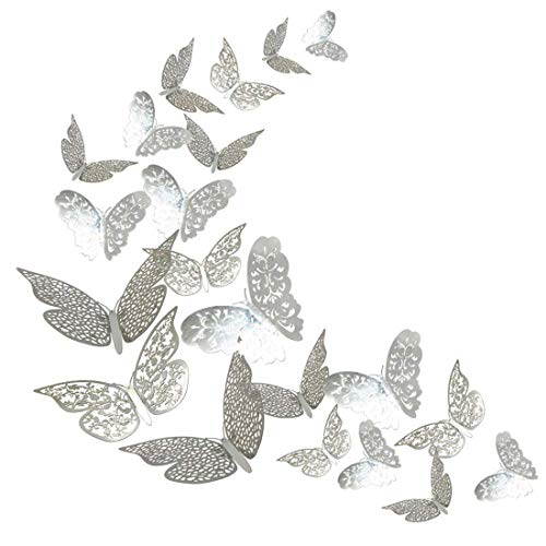 queenland 36 Pack 3D Hollow-Out Silver Butterfly Wall Decals Wall Stickers Decorations Art Decor for Home & Party,Wedding,Birthday,Bedroom,Nursery,Photo Album,TV Background -