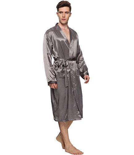 a958507e16 FAYBOX Men Satin Robe Long Bathrobe Lightweight Sleepwear