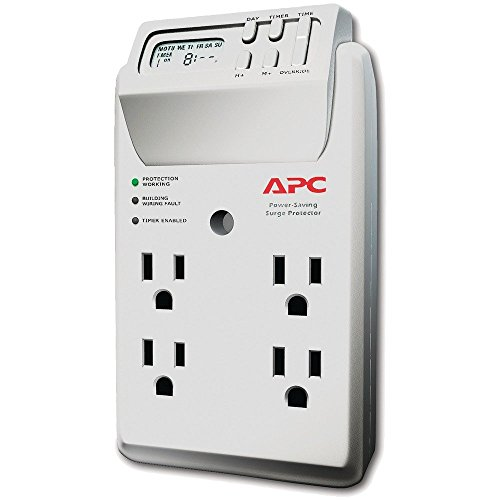 - APC P4GC 4-Outlet Energy-Saving Surge Protector Wall Tap with LCD Timer
