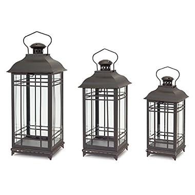 Set of 3 Rustic Black Coffee Mission-Style Decorative Glass Pillar Candle Lanterns 20