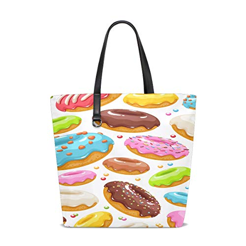 Women Colorful Glazed Donuts Icons Seamless Handle Satchel Handbags Shoulder Bag Tote Purse Messenger Bags