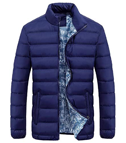 Collar Blue Stand Zipper up Howme Adult Quilted Fall Jacket Winter Men Dark 7WZPIxxBnF