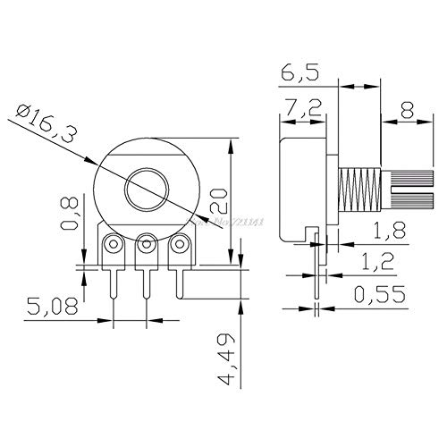 5pcs B10k Ohm Linear Taper Rotary Potentiometer Panel Pot 15mm Hot