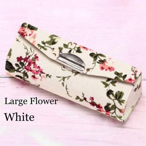 Brocade Cinch - Retro Brocade Embroidered Flower Design Lipstick Case Holder Box With Mirror- (Model - Large Flower-White)