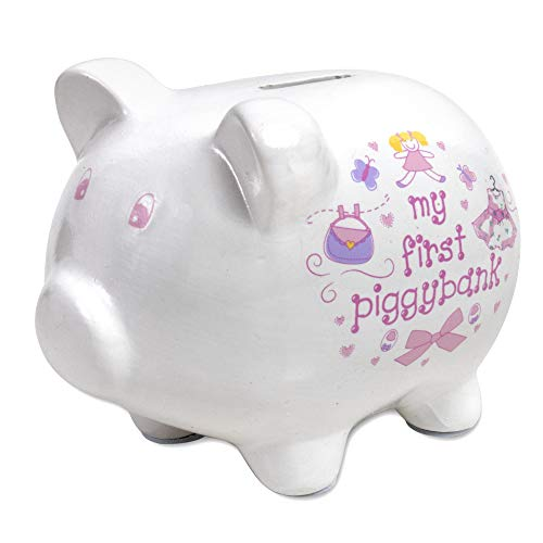 affordable Baby Essentials Baby's First Piggy Banks for Boys and Girls in Blue or Pink Décor (Pink)