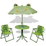 vidaXL Kids' Garden Furniture Set 4 Piece Green Outdoor Table Chair Umbrella