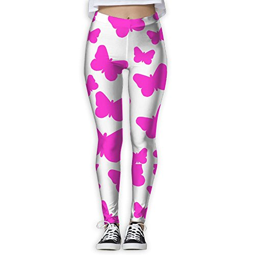 Pink Butterflies Clipart Elastic High Waist Yoga Leggings For Women