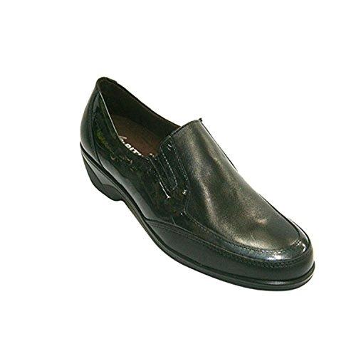 Combiné cuir femme de la chaussure et de brevet Pitillos en noir