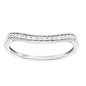 Instagems 10k White Gold Curved Diamond Wedding Band Guard (1/8 cttw, I J Color, I2 I3 Clarity)