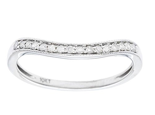 10k White Gold Curved Diamond Wedding Band Guard (1/8 cttw, I J Color, I2 I3 Clarity)