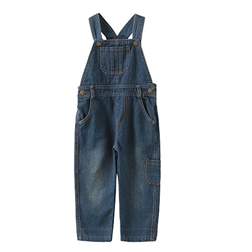 Grandwish Boys Girls Casual Denim Bib Overalls 4T Denim Toddler Bib