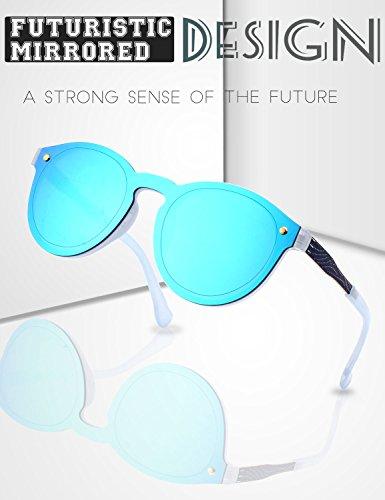 Bleu bouclier soleil de Lens Miroir MEO5 de jante Futuriste GQUEEN Lunettes Bleu sans qwS4I7f7