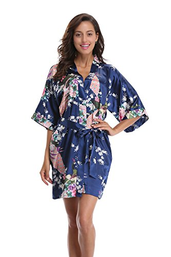 - Luvrobes Women's Kimono Robe with Pockets, Peacock Design, Short (XL, Navy)