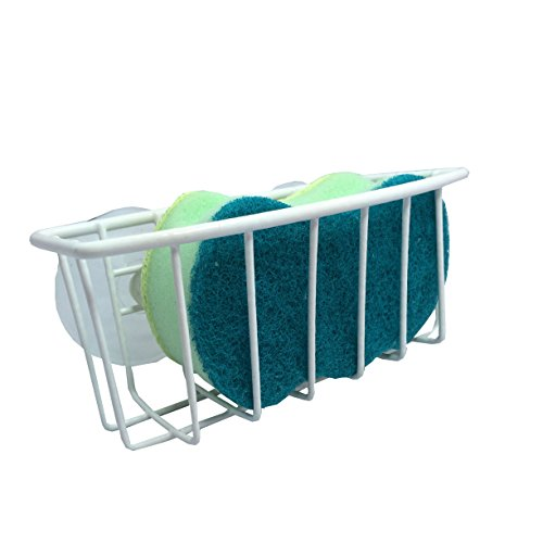 Hopeful by Long-Lived Durable Steel Construction Color Coated Large Suction Cups Kitchen Sink Sponge Storage Organizer Holder (White)