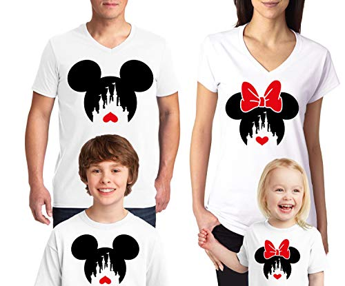 Disney Family Trip #2 Disney Heart Love 2019 Couple V Neck Shirts Disneyland Trip Disney Minnie Mickey Mouse T Shirts White Women Small ()