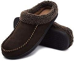 ULTRAIDEAS Men's Comfort Suede Fabric Memory Foam Fluffy Fleece Lined Slippers Non Skid House Shoes W/Wool-Like Collar