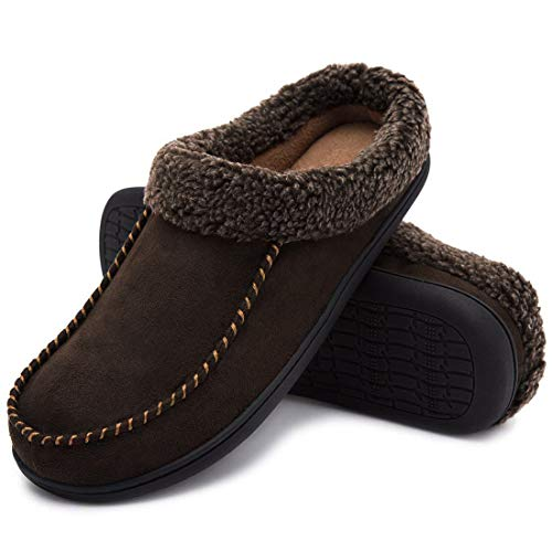 ULTRAIDEAS Men's Cozy Memory Foam Moccasin Suede Slippers with Fuzzy Plush Wool-Like Lining, Slip on Mules Clogs House Shoes (Medium / 9-10 D(M) US, Coffee) Brown (Best Basement Colors 2019)