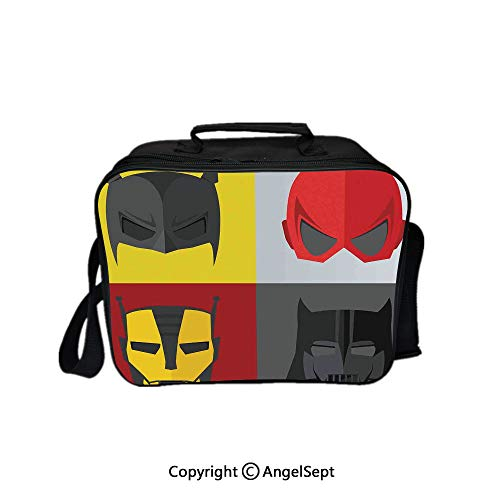 Multifunctional Lunch Bags for Women Wide Open,Masks for Disguise of Heroes for Fighting Evil Fun Cartoon Retro Art Prints Red Grey Yellow 8.3inch,Lunch Box With Double Deck Cooler Tote Bag