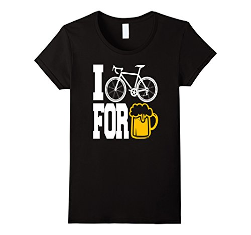 Womens I BIKE FOR BEER - Cool Bikes and Beer Graphic T-Shirt!  Large Black