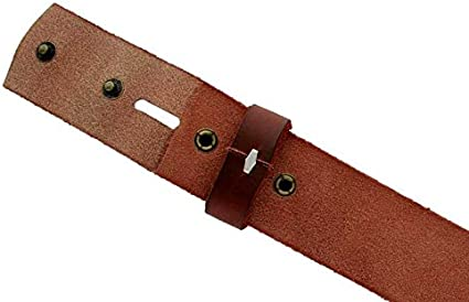 BS-40 Vintage Full Grain One Piece 100/% Leather Style Snap on Belt Strap 1 1//2 Wide