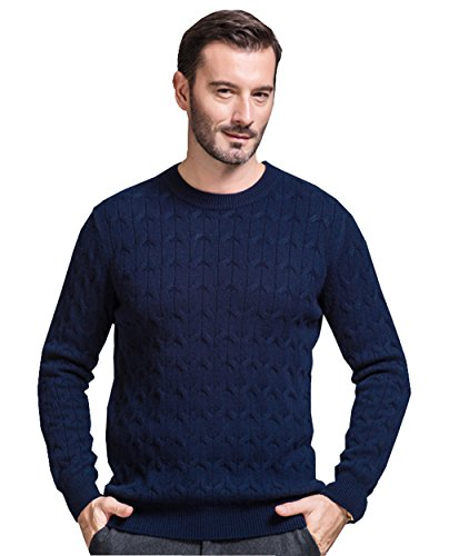 UNbox Mens Cashmere Crewneck Solid Pullover Sweater Deep Blue L by UNbox