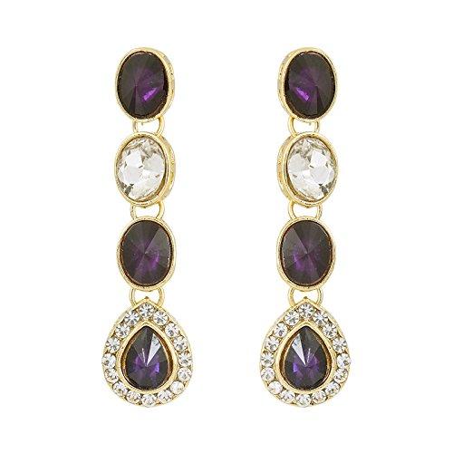 Fasherati Sleek Purple And White Kundan Engagement Necklace Sets For Women