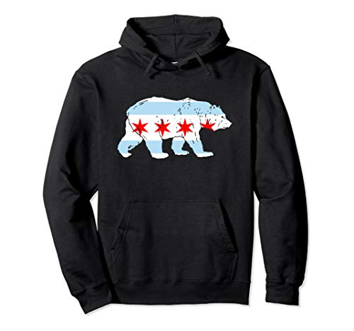 (City of Chicago Flag Bear Lover Classic Hoodie)