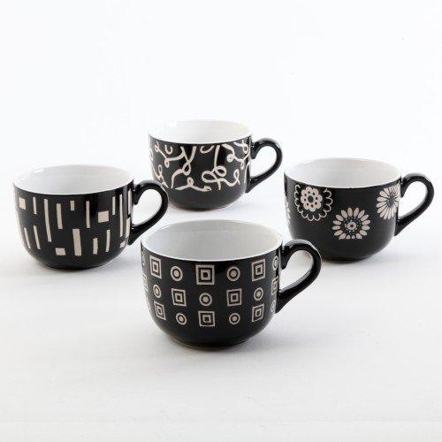 Gibson 20 oz Abstraxx Coffee or Tea Latte Mug Set ~ 4 PC by