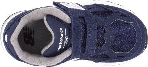 New Balance V990 - Zapatillas de running de cuero para niño GPI azul marino/gris