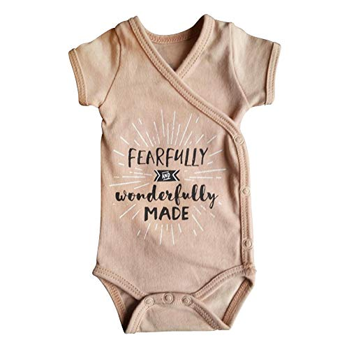 In His Hands Preemies Girls Blush Pink Preemie Onesie-100% Organic Cotton-Fearfully and Wonderfully Made NICU Nurse Approved Clothing