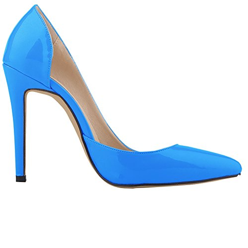 Fereshte Mujeres Closed Toe High Heels Puntiagudo Slender Stiletto Pumps Azul