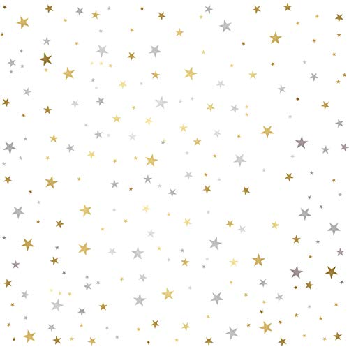 Stickers 378 - Mozamy Creative Star Wall Decals (378 Count) Gold and Silver Star Decals Removable Peel and Stick Wall Decals