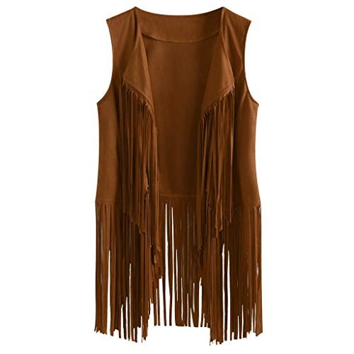 Brown Cowgirl Vest (Kulywon Fringe Vest Women Suede Vest Faux Tassels 70s Ethnic Winter Western Cowgir Vest Country Sleeveless Garment)