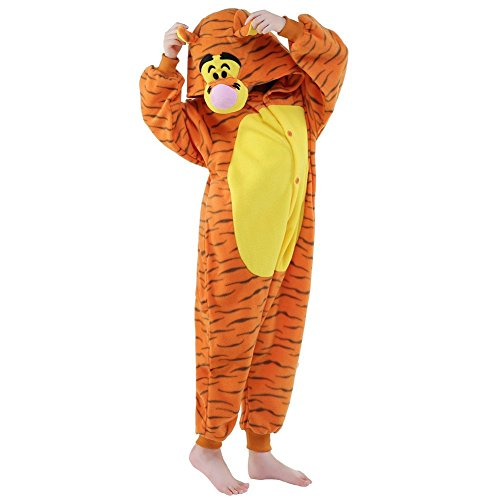 NEWCOSPLAY Kids Plush One Piece Cosplay Onesies Costume (85, Tigger)]()