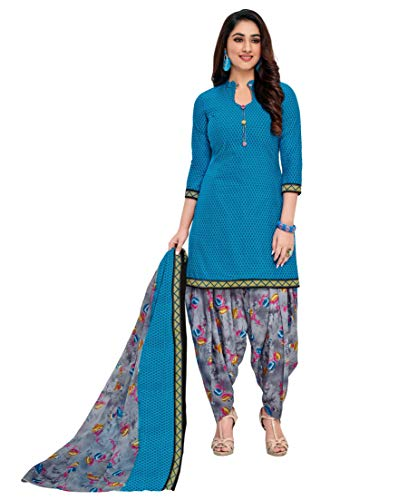 Miraan Women's Cotton Unstitched Dress Material (SGPRI326; Blue; Free Size)