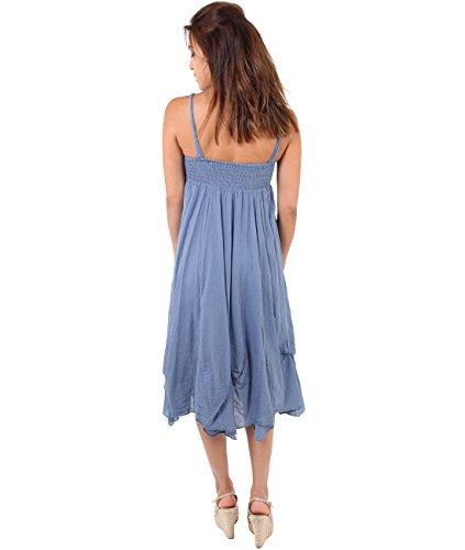 KRISP Vestido Mujer Primavera Verano Algodón Asimétrico Boho Casual Vaquero