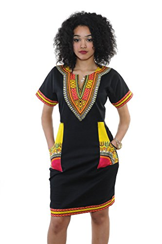 Women Traditional African Print Dashiki Bodycon Short Sleeve Dress Yellow (Modern African Clothing)