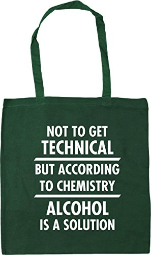 HippoWarehouse Not to get technical but according to chemistry alcohol is a solution Tote Shopping Gym Beach Bag 42cm x38cm, 10 litres Bottle Green