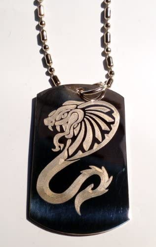 amazon com king cobra venom tribal snake serpent tattoo logo symbols military dog tag luggage tag key chain metal chain necklace automotive king cobra venom tribal snake serpent tattoo logo symbols military dog tag luggage tag key chain metal chain necklace