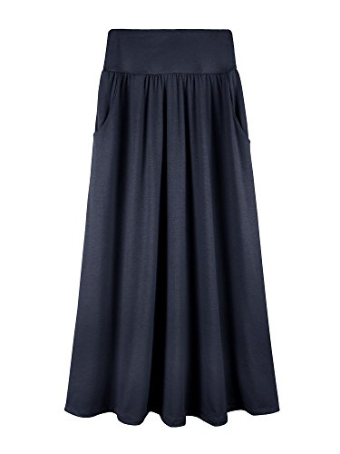 Bello Giovane Girls 7-16 Years Solid Maxi Skirt with Side Pockets (Large, Navy)
